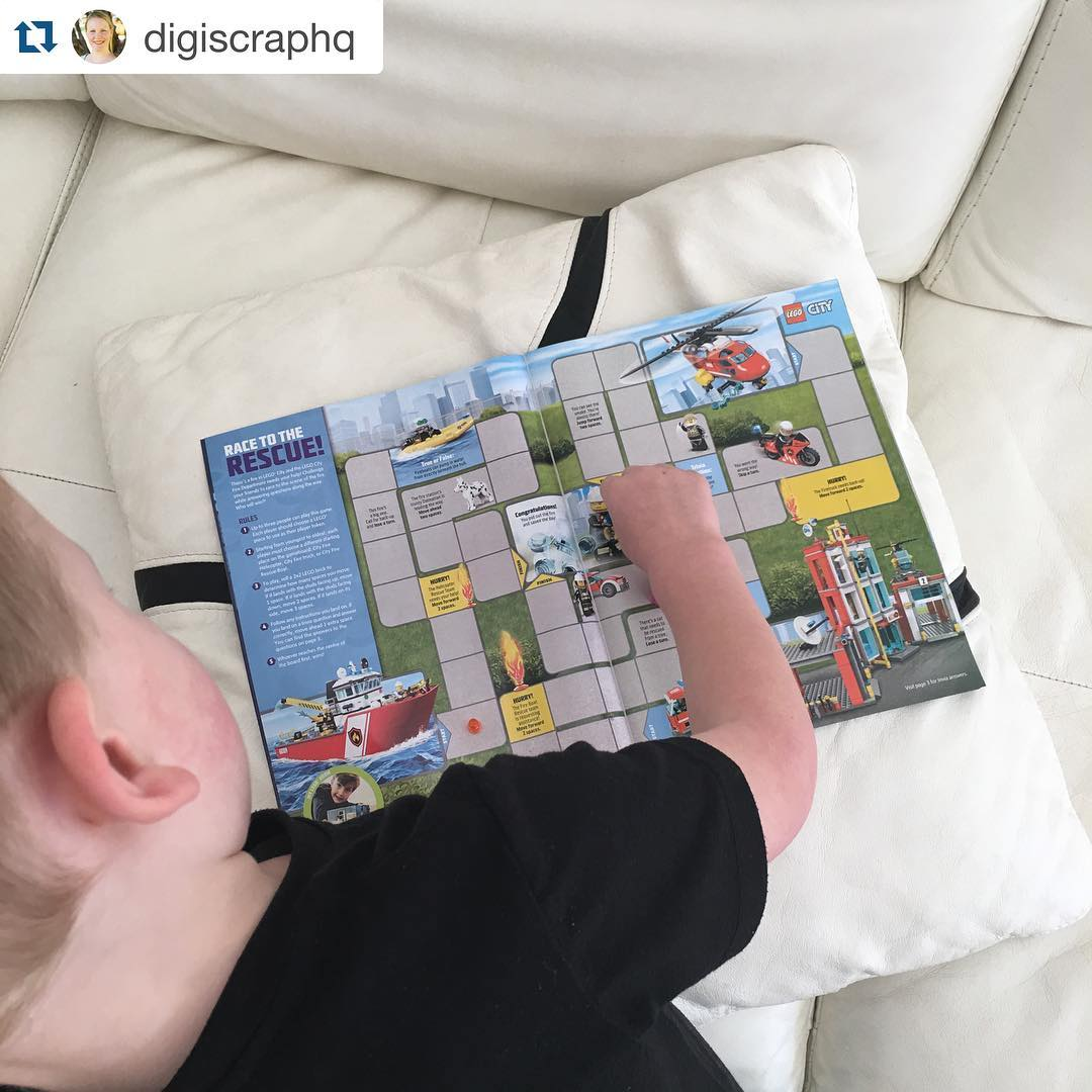 #Repost @digiscraphq with @repostapp. ??? A peaceful morning #EdwardJames and #EmilyCeleste playing their @lego Club Race to the Rescue game #100momentscaptured #lego #legoclub #australia