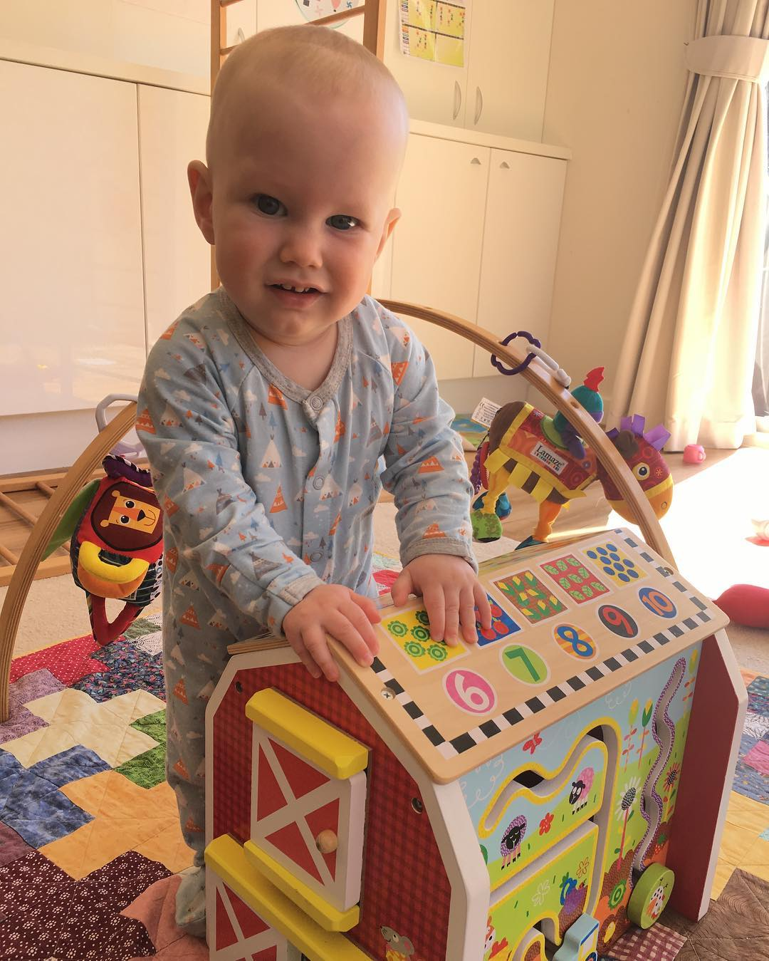 #MatthewAlexander is pulling himself up to stand. This wooden farmhouse is nice and sturdy for him ?? #9months
