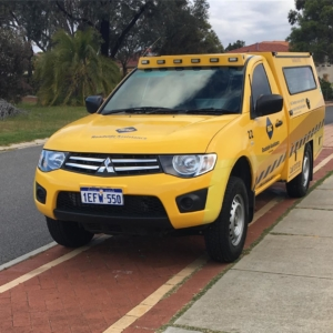 """While walking home from the library today #EdwardJames informs me, """"We should get at car like that one, it is cool"""" @racwa (For those not in the know, these yellow utes are RAC roadside assistance vehicles in Perth)"""